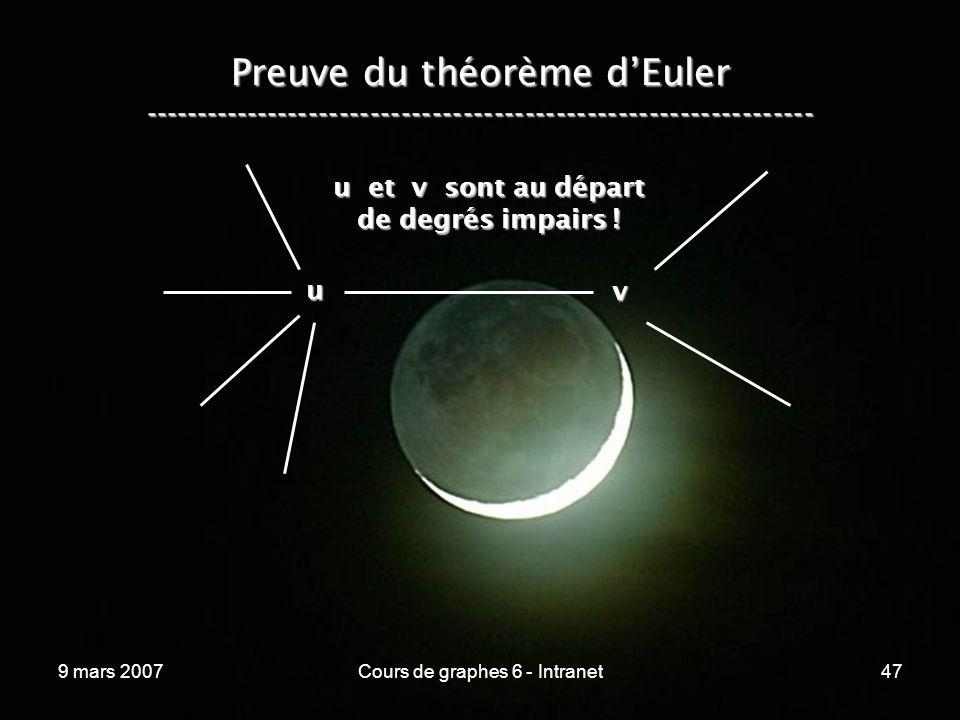 9 mars 2007Cours de graphes 6 - Intranet47 Preuve du théorème dEuler ----------------------------------------------------------------- u v u et v sont au départ de degrés impairs !
