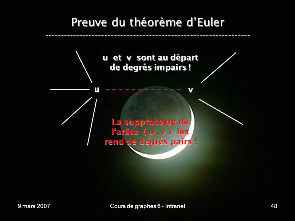 9 mars 2007Cours de graphes 6 - Intranet48 Preuve du théorème dEuler ----------------------------------------------------------------- u v u et v sont au départ de degrés impairs .
