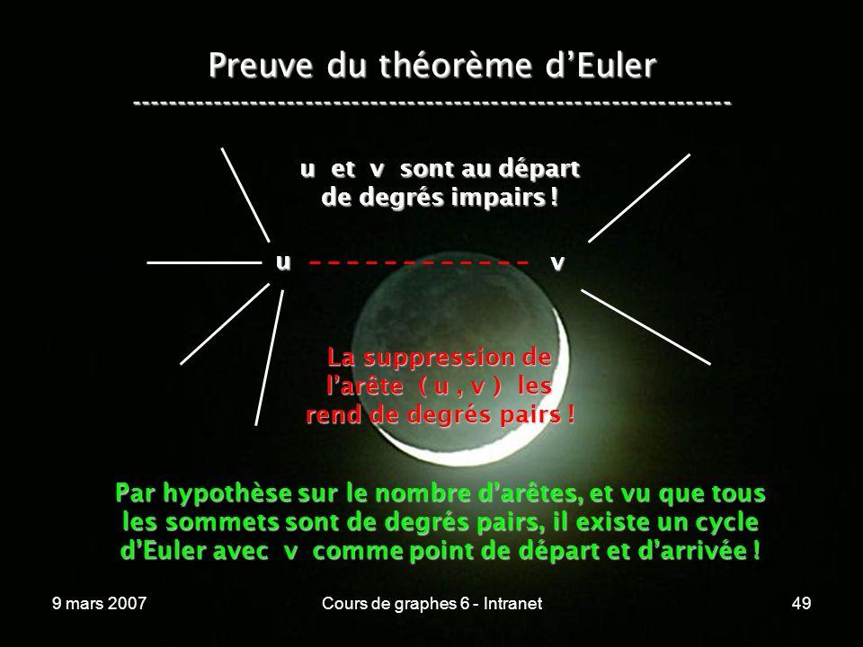 9 mars 2007Cours de graphes 6 - Intranet49 Preuve du théorème dEuler ----------------------------------------------------------------- u v u et v sont au départ de degrés impairs .