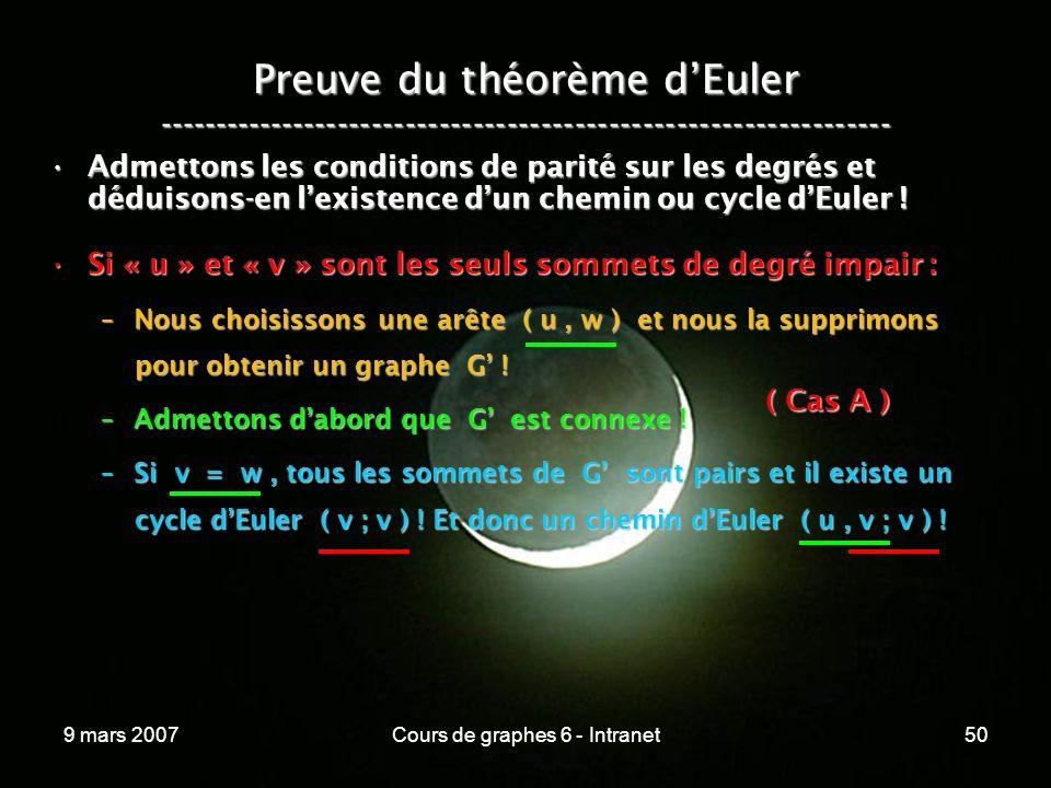 9 mars 2007Cours de graphes 6 - Intranet50 Preuve du théorème dEuler ----------------------------------------------------------------- Admettons les conditions de parité sur les degrés et déduisons-en lexistence dun chemin ou cycle dEuler !Admettons les conditions de parité sur les degrés et déduisons-en lexistence dun chemin ou cycle dEuler .