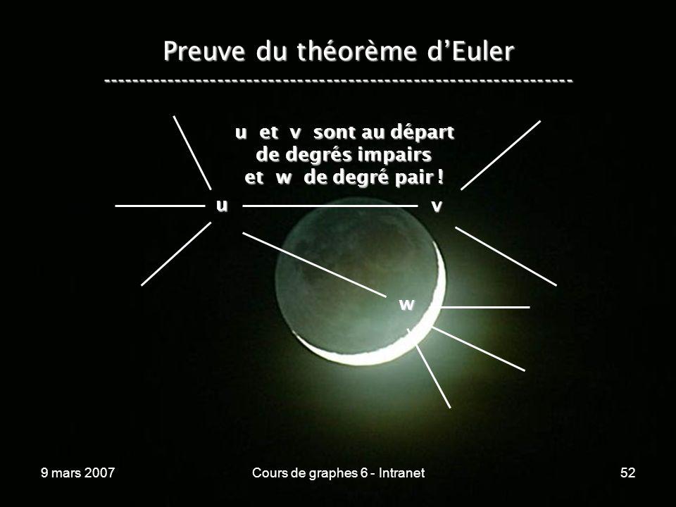 9 mars 2007Cours de graphes 6 - Intranet52 Preuve du théorème dEuler ----------------------------------------------------------------- u v u et v sont au départ de degrés impairs et w de degré pair .