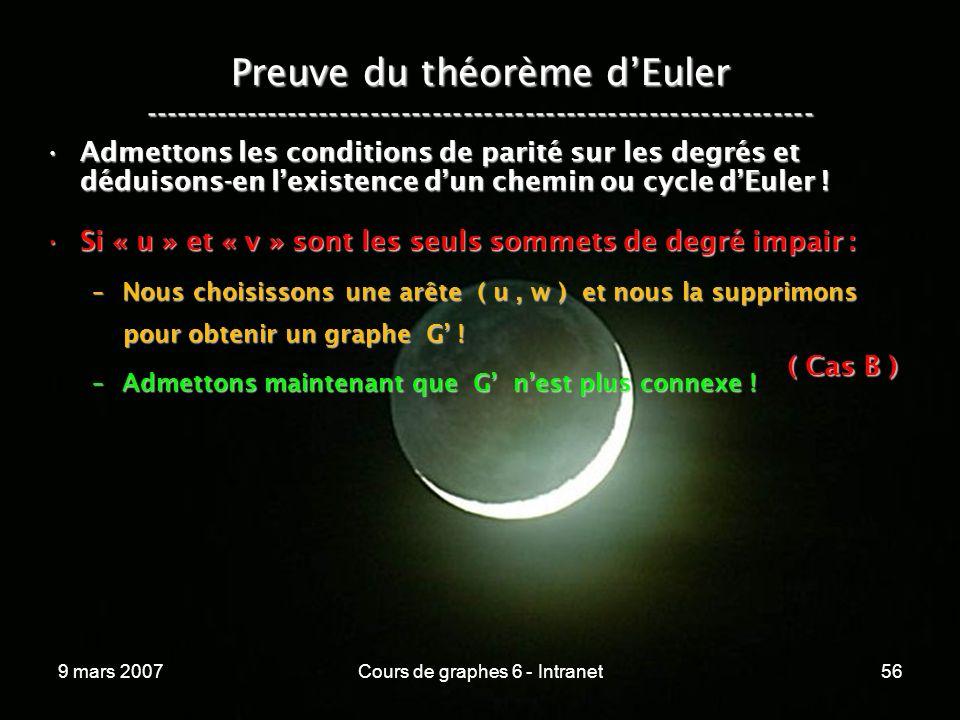 9 mars 2007Cours de graphes 6 - Intranet56 Preuve du théorème dEuler ----------------------------------------------------------------- Admettons les conditions de parité sur les degrés et déduisons-en lexistence dun chemin ou cycle dEuler !Admettons les conditions de parité sur les degrés et déduisons-en lexistence dun chemin ou cycle dEuler .