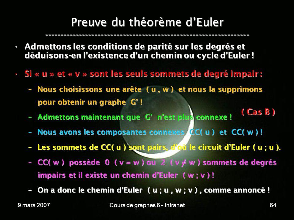 9 mars 2007Cours de graphes 6 - Intranet64 Preuve du théorème dEuler ----------------------------------------------------------------- Admettons les conditions de parité sur les degrés et déduisons-en lexistence dun chemin ou cycle dEuler !Admettons les conditions de parité sur les degrés et déduisons-en lexistence dun chemin ou cycle dEuler .
