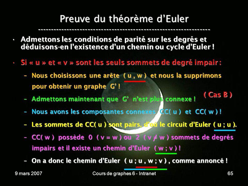 9 mars 2007Cours de graphes 6 - Intranet65 Preuve du théorème dEuler ----------------------------------------------------------------- Admettons les conditions de parité sur les degrés et déduisons-en lexistence dun chemin ou cycle dEuler !Admettons les conditions de parité sur les degrés et déduisons-en lexistence dun chemin ou cycle dEuler .