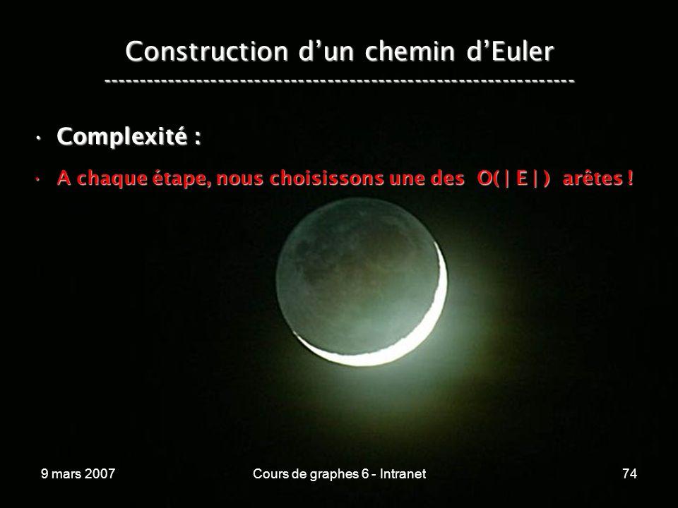 9 mars 2007Cours de graphes 6 - Intranet74 Construction dun chemin dEuler ----------------------------------------------------------------- Complexité :Complexité : A chaque étape, nous choisissons une des O( | E | ) arêtes !A chaque étape, nous choisissons une des O( | E | ) arêtes !
