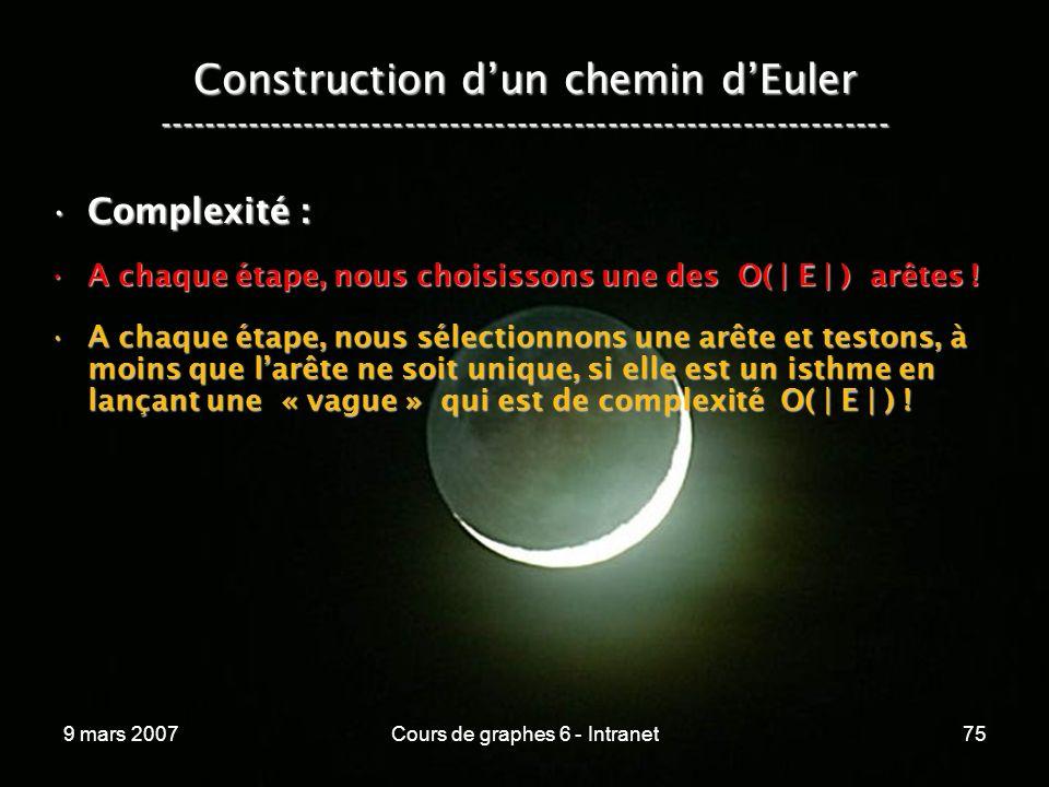 9 mars 2007Cours de graphes 6 - Intranet75 Construction dun chemin dEuler ----------------------------------------------------------------- Complexité :Complexité : A chaque étape, nous choisissons une des O( | E | ) arêtes !A chaque étape, nous choisissons une des O( | E | ) arêtes .