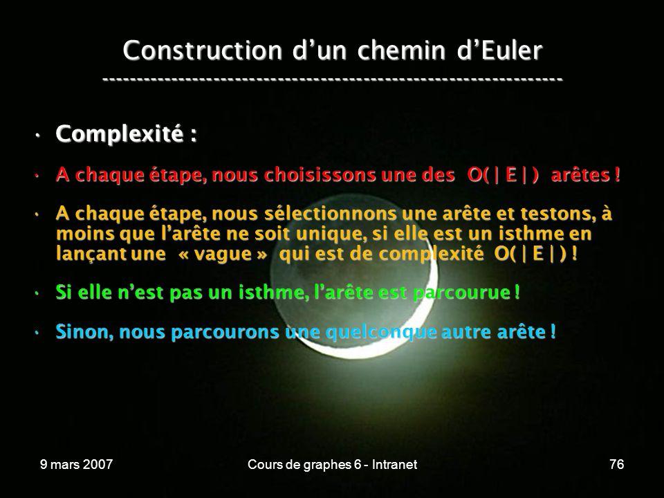 9 mars 2007Cours de graphes 6 - Intranet76 Construction dun chemin dEuler ----------------------------------------------------------------- Complexité :Complexité : A chaque étape, nous choisissons une des O( | E | ) arêtes !A chaque étape, nous choisissons une des O( | E | ) arêtes .