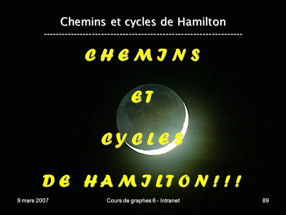 9 mars 2007Cours de graphes 6 - Intranet89 Chemins et cycles de Hamilton ----------------------------------------------------------------- C H E M I N S E T C Y C L E S D E H A M I L T O N .