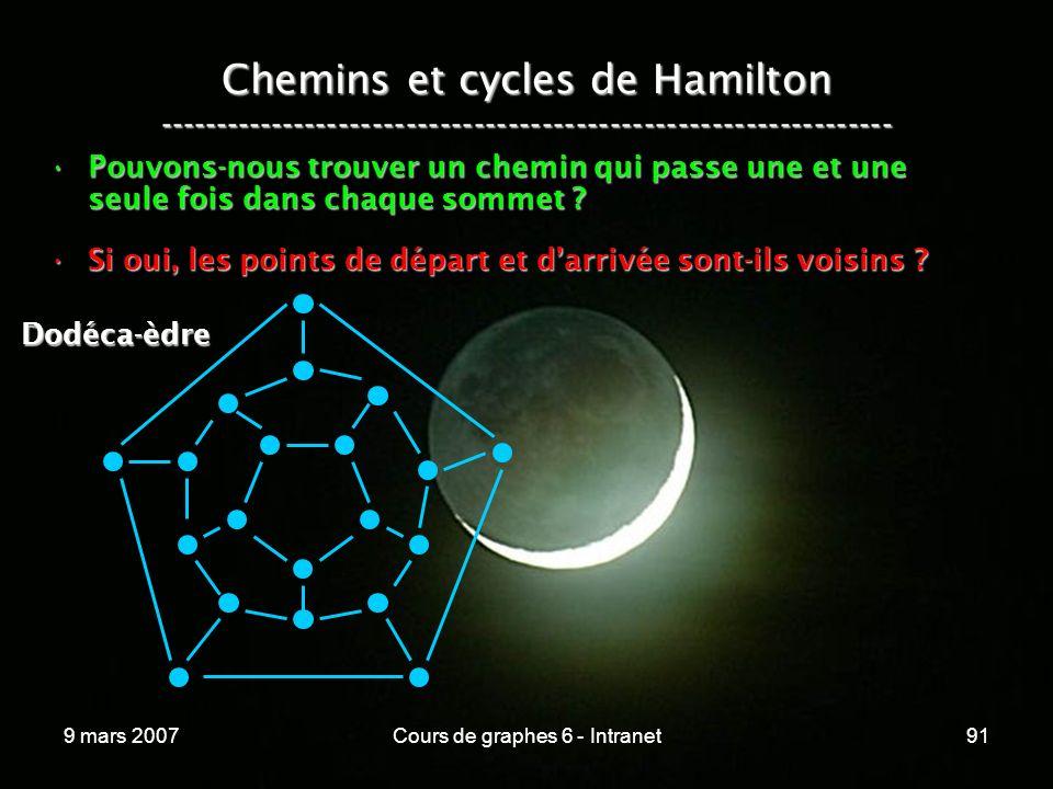 9 mars 2007Cours de graphes 6 - Intranet91 Chemins et cycles de Hamilton ----------------------------------------------------------------- Pouvons-nous trouver un chemin qui passe une et une seule fois dans chaque sommet Pouvons-nous trouver un chemin qui passe une et une seule fois dans chaque sommet .