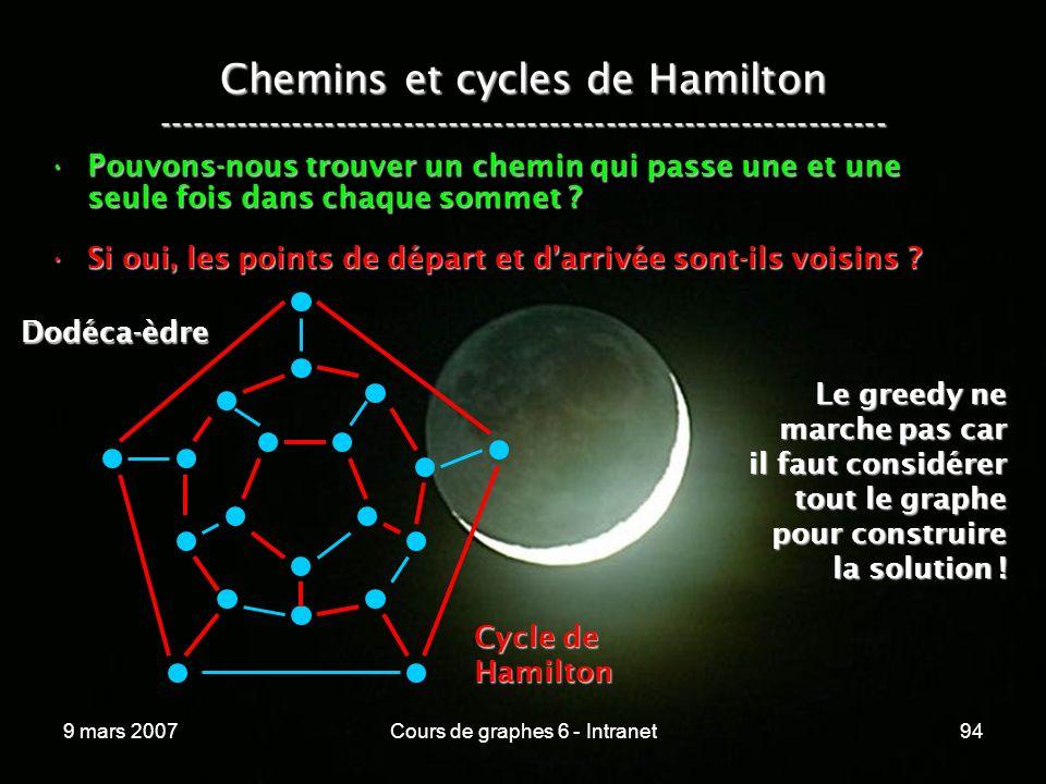 9 mars 2007Cours de graphes 6 - Intranet94 Chemins et cycles de Hamilton ----------------------------------------------------------------- Pouvons-nous trouver un chemin qui passe une et une seule fois dans chaque sommet Pouvons-nous trouver un chemin qui passe une et une seule fois dans chaque sommet .