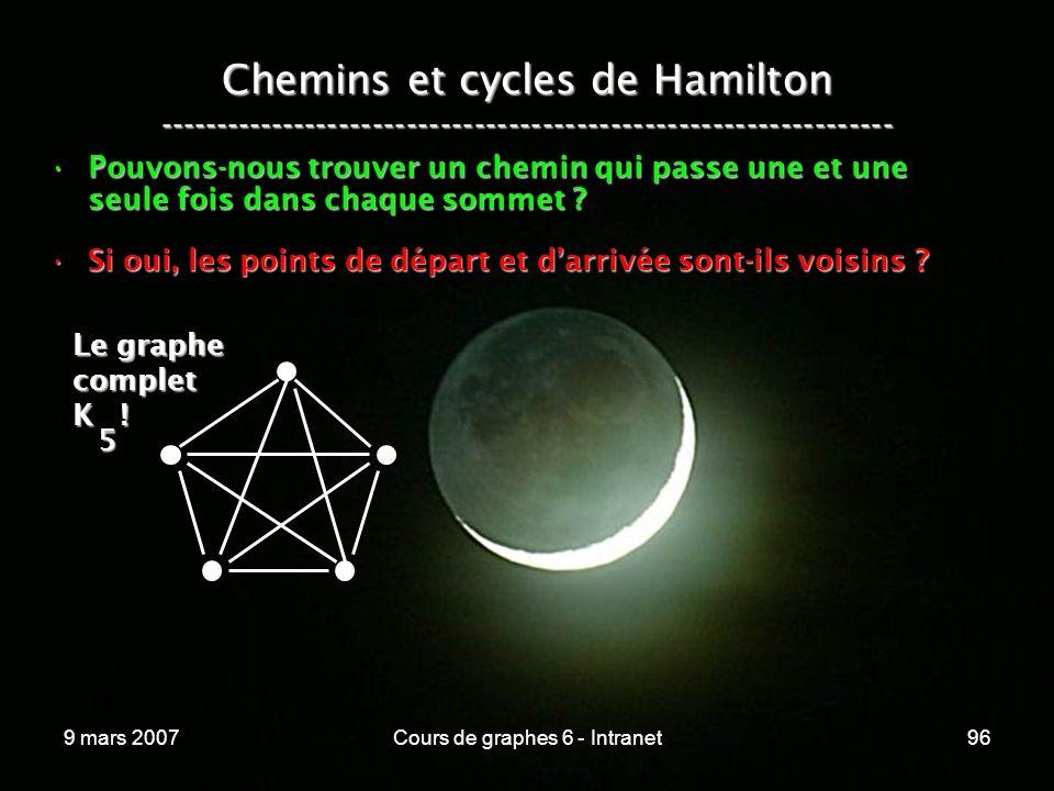 9 mars 2007Cours de graphes 6 - Intranet96 Chemins et cycles de Hamilton ----------------------------------------------------------------- Pouvons-nous trouver un chemin qui passe une et une seule fois dans chaque sommet Pouvons-nous trouver un chemin qui passe une et une seule fois dans chaque sommet .