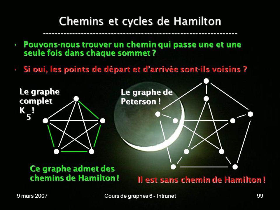 9 mars 2007Cours de graphes 6 - Intranet99 Chemins et cycles de Hamilton ----------------------------------------------------------------- Pouvons-nous trouver un chemin qui passe une et une seule fois dans chaque sommet Pouvons-nous trouver un chemin qui passe une et une seule fois dans chaque sommet .