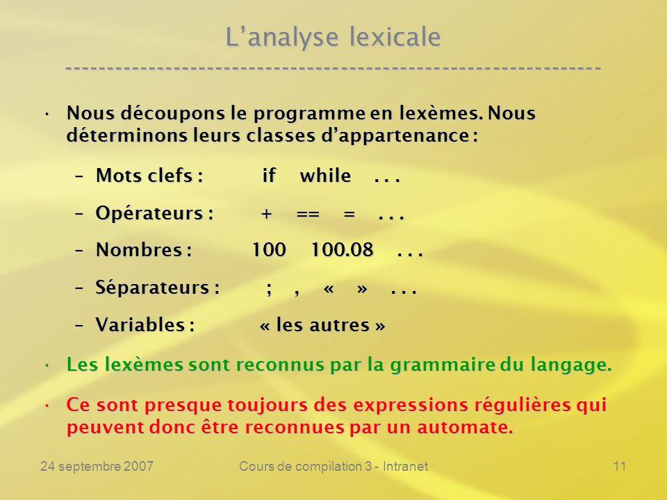 24 septembre 2007Cours de compilation 3 - Intranet11 Lanalyse lexicale ---------------------------------------------------------------- Nous découpons