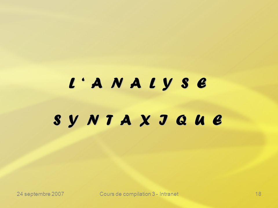 24 septembre 2007Cours de compilation 3 - Intranet18 L A N A L Y S E S Y N T A X I Q U E