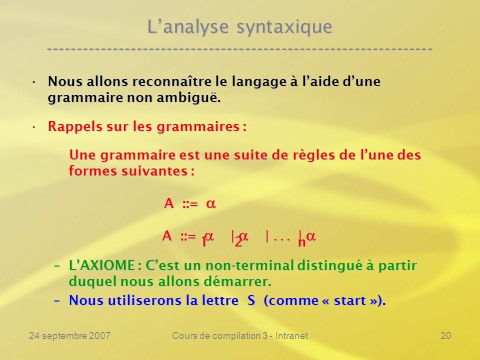 24 septembre 2007Cours de compilation 3 - Intranet20 Lanalyse syntaxique ---------------------------------------------------------------- Nous allons