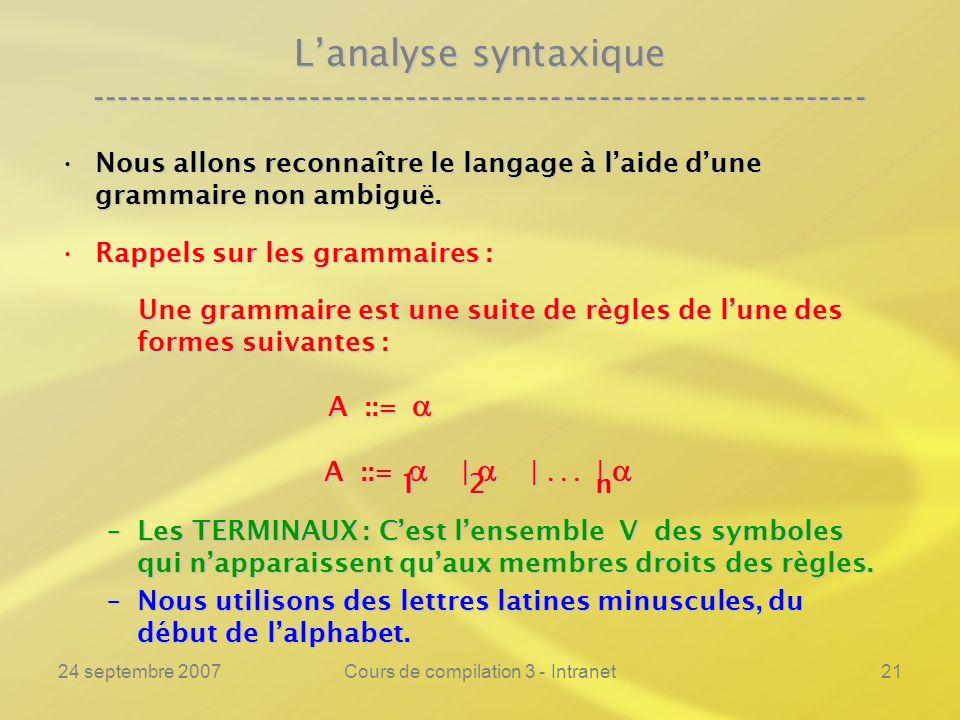 24 septembre 2007Cours de compilation 3 - Intranet21 Lanalyse syntaxique ---------------------------------------------------------------- Nous allons