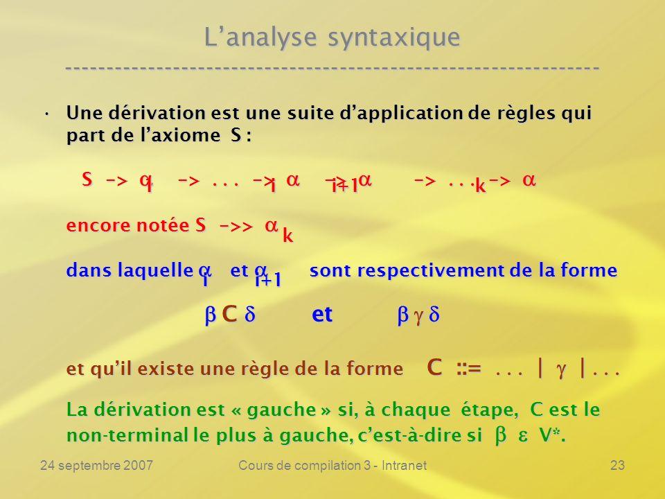 24 septembre 2007Cours de compilation 3 - Intranet23 Lanalyse syntaxique ---------------------------------------------------------------- Une dérivati