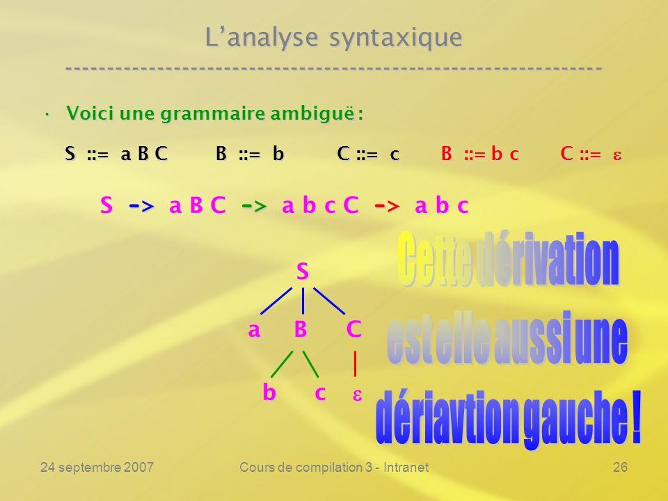 24 septembre 2007Cours de compilation 3 - Intranet26 Lanalyse syntaxique ---------------------------------------------------------------- Voici une gr