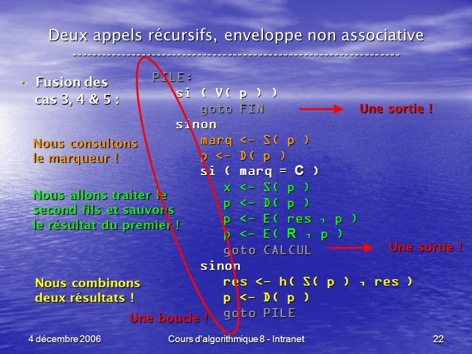 4 décembre 2006Cours d algorithmique 8 - Intranet22 Deux appels récursifs, enveloppe non associative ----------------------------------------------------------------- Fusion des Fusion des cas 3, 4 & 5 : cas 3, 4 & 5 : PILE: si ( V( p ) ) si ( V( p ) ) goto FIN goto FIN sinon sinon marq <- S( p ) marq <- S( p ) p <- D( p ) p <- D( p ) si ( marq = C ) si ( marq = C ) x <- S( p ) x <- S( p ) p <- D( p ) p <- D( p ) p <- E( res, p ) p <- E( res, p ) p <- E( R, p ) p <- E( R, p ) goto CALCUL goto CALCUL sinon sinon res <- h( S( p ), res ) res <- h( S( p ), res ) p <- D( p ) p <- D( p ) goto PILE goto PILE Nous consultons le marqueur .
