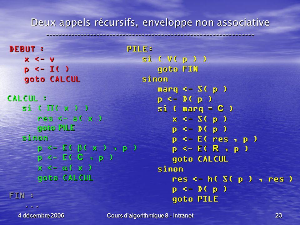 4 décembre 2006Cours d algorithmique 8 - Intranet23 Deux appels récursifs, enveloppe non associative ----------------------------------------------------------------- PILE: si ( V( p ) ) si ( V( p ) ) goto FIN goto FIN sinon sinon marq <- S( p ) marq <- S( p ) p <- D( p ) p <- D( p ) si ( marq = C ) si ( marq = C ) x <- S( p ) x <- S( p ) p <- D( p ) p <- D( p ) p <- E( res, p ) p <- E( res, p ) p <- E( R, p ) p <- E( R, p ) goto CALCUL goto CALCUL sinon sinon res <- h( S( p ), res ) res <- h( S( p ), res ) p <- D( p ) p <- D( p ) goto PILE goto PILE CALCUL : si ( ( x ) ) si ( ( x ) ) res <- a( x ) res <- a( x ) goto PILE goto PILE sinon sinon p <- E( ( x ), p ) p <- E( ( x ), p ) p <- E( C, p ) p <- E( C, p ) x <- ( x ) x <- ( x ) goto CALCUL goto CALCUL DEBUT : x <- v x <- v p <- I( ) p <- I( ) goto CALCUL goto CALCUL FIN :......