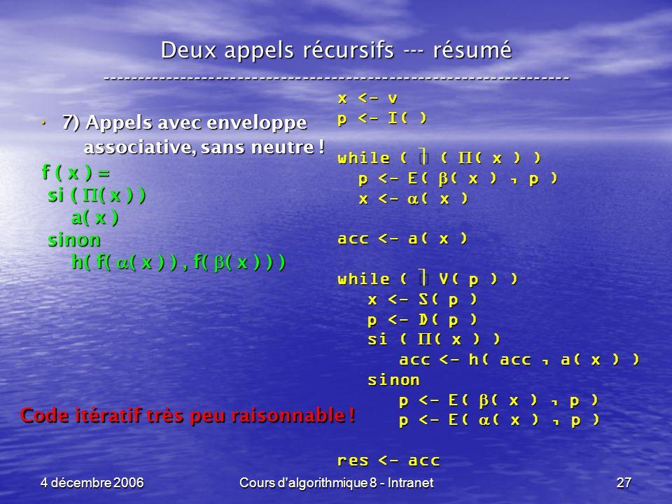 4 décembre 2006Cours d algorithmique 8 - Intranet27 x <- v p <- I( ) while ( ( ( x ) ) p <- E( ( x ), p ) p <- E( ( x ), p ) x <- ( x ) x <- ( x ) acc <- a( x ) while ( V( p ) ) x <- S( p ) x <- S( p ) p <- D( p ) p <- D( p ) si ( ( x ) ) si ( ( x ) ) acc <- h( acc, a( x ) ) acc <- h( acc, a( x ) ) sinon sinon p <- E( ( x ), p ) p <- E( ( x ), p ) res <- acc Deux appels récursifs --- résumé ----------------------------------------------------------------- 7) Appels avec enveloppe 7) Appels avec enveloppe associative, sans neutre .