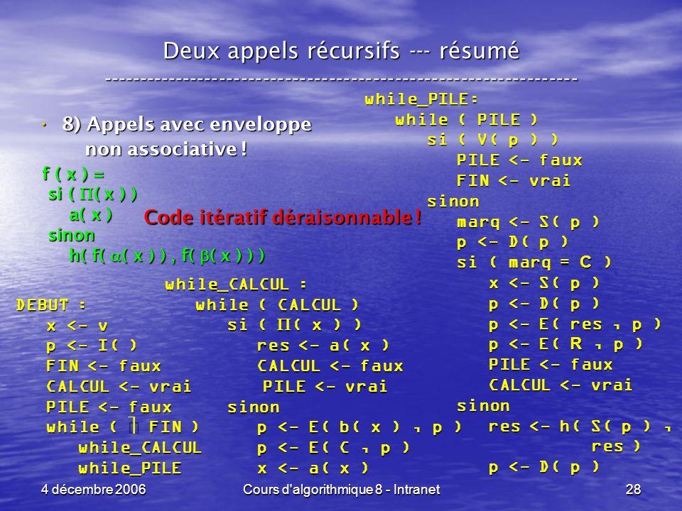 4 décembre 2006Cours d algorithmique 8 - Intranet28 Deux appels récursifs --- résumé ----------------------------------------------------------------- 8) Appels avec enveloppe 8) Appels avec enveloppe non associative .