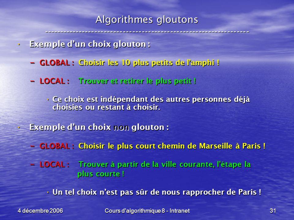 4 décembre 2006Cours d algorithmique 8 - Intranet31 Algorithmes gloutons ----------------------------------------------------------------- Exemple dun choix glouton : Exemple dun choix glouton : – GLOBAL : Choisir les 10 plus petits de lamphi .