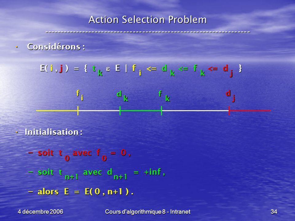 4 décembre 2006Cours d algorithmique 8 - Intranet34 Considérons : Considérons : E( i, j ) = { t E | f <= d <= f <= d } E( i, j ) = { t E | f <= d <= f <= d } Initialisation : Initialisation : – soit t avec f = 0, – soit t avec d = +inf, – alors E = E( 0, n+1 ).
