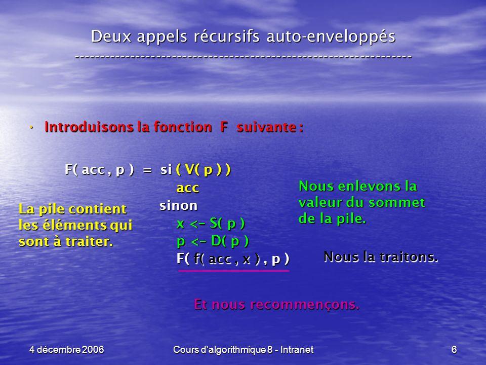 4 décembre 2006Cours d algorithmique 8 - Intranet6 Deux appels récursifs auto-enveloppés ----------------------------------------------------------------- Introduisons la fonction F suivante : Introduisons la fonction F suivante : F( acc, p ) = si ( V( p ) ) F( acc, p ) = si ( V( p ) ) acc acc sinon sinon x < - S( p ) x < - S( p ) p < - D( p ) p < - D( p ) F( f( acc, x ), p ) F( f( acc, x ), p ) La pile contient les éléments qui sont à traiter.