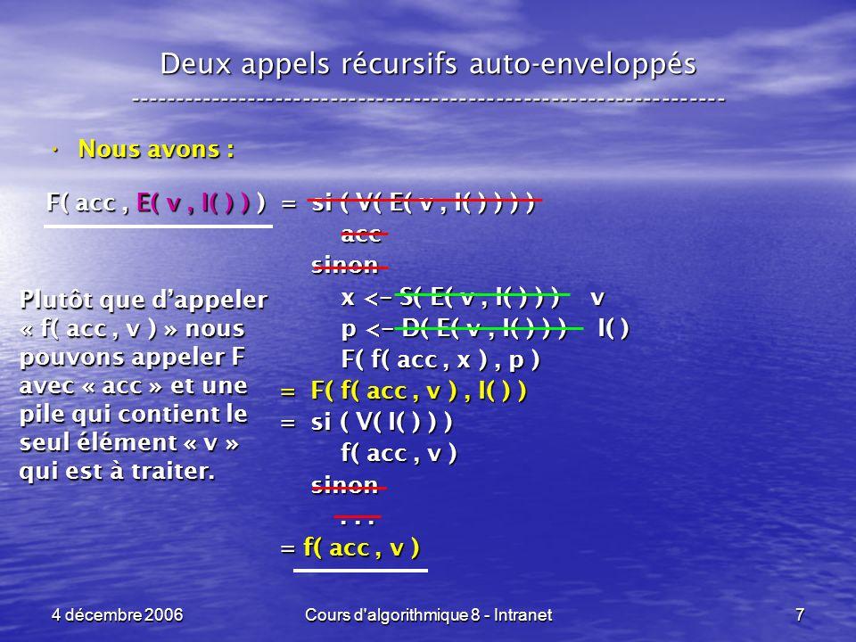 4 décembre 2006Cours d algorithmique 8 - Intranet18 Deux appels récursifs, enveloppe non associative ----------------------------------------------------------------- Cest le cas le plus compliqué à gérer .