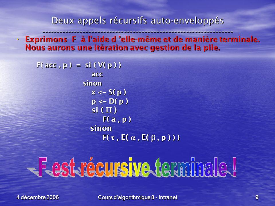 4 décembre 2006Cours d algorithmique 8 - Intranet10 Deux appels récursifs auto-enveloppés ----------------------------------------------------------------- Pour un appel res < - f( init, v ) nous obtenons le code : Pour un appel res < - f( init, v ) nous obtenons le code : acc <- init p <- E( v, I( ) ) while ( V( p ) ) x <- S( p ) x <- S( p ) p <- D( p ) p <- D( p ) si ( ( acc, x ) ) si ( ( acc, x ) ) acc <- a( acc, x ) acc <- a( acc, x ) sinon sinon p <- E( ( acc, x ), p ) p <- E( ( acc, x ), p ) acc <- ( acc, x ) acc <- ( acc, x ) res <- acc Initialisation de acc et p .