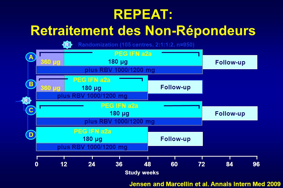 REPEAT: Retraitement des Non-Répondeurs Randomization (105 centres, 2:1:1:2, n=950) Study weeks R 04824123660728496 Follow-up 360 µg plus RBV 1000/1200 mg PEG IFN a2a 180 µg Follow-up 360 µg plus RBV 1000/1200 mg 180 µg Follow-up plus RBV 1000/1200 mg Follow-up plus RBV 1000/1200 mg A B D PEG IFN a2a 180 µg PEG IFN a2a 180 µg C R Jensen and Marcellin et al.