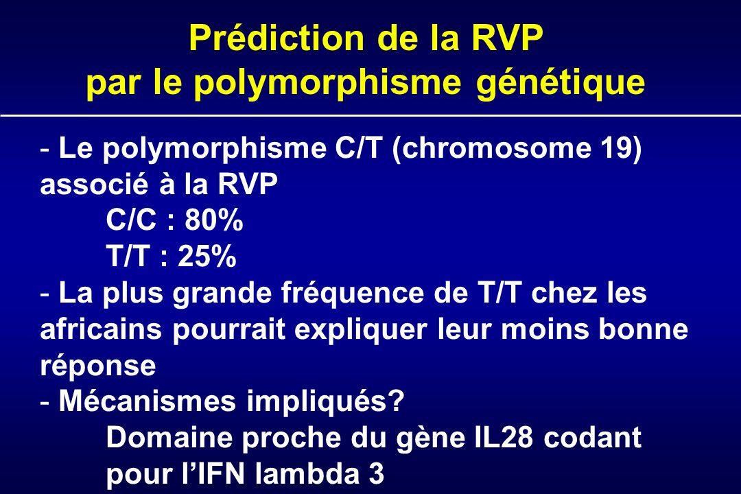 - - Le polymorphisme C/T (chromosome 19) associé à la RVP C/C : 80% T/T : 25% - - La plus grande fréquence de T/T chez les africains pourrait expliquer leur moins bonne réponse - - Mécanismes impliqués.