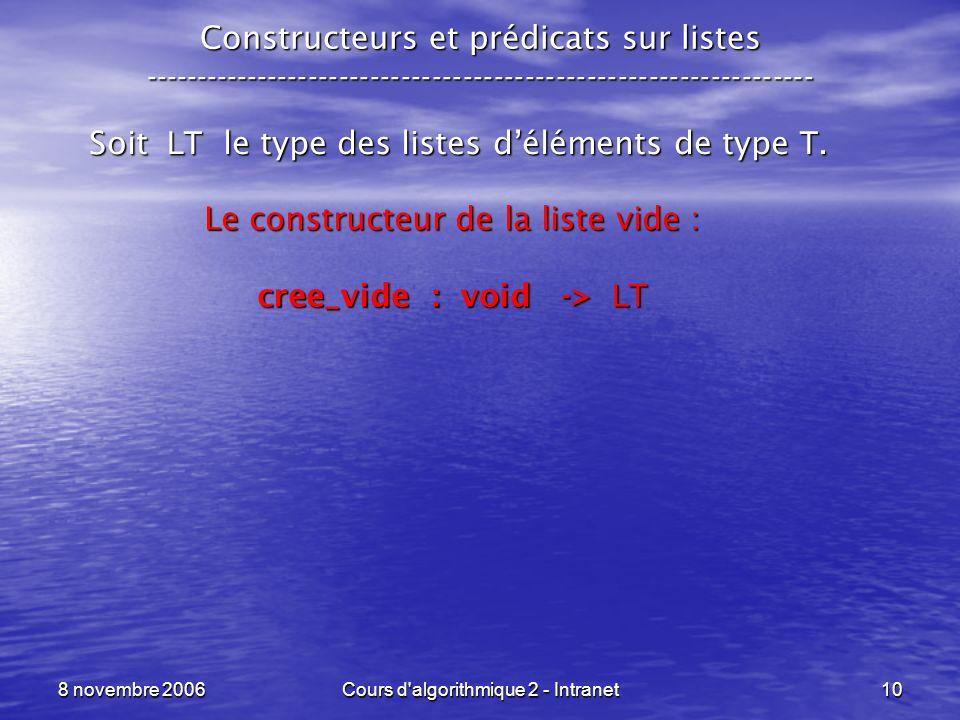8 novembre 2006Cours d'algorithmique 2 - Intranet10 Constructeurs et prédicats sur listes ------------------------------------------------------------