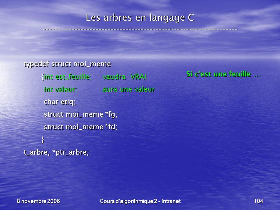8 novembre 2006Cours d'algorithmique 2 - Intranet104 Les arbres en langage C ----------------------------------------------------------------- typedef