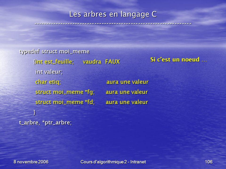 8 novembre 2006Cours d'algorithmique 2 - Intranet106 Les arbres en langage C ----------------------------------------------------------------- typedef