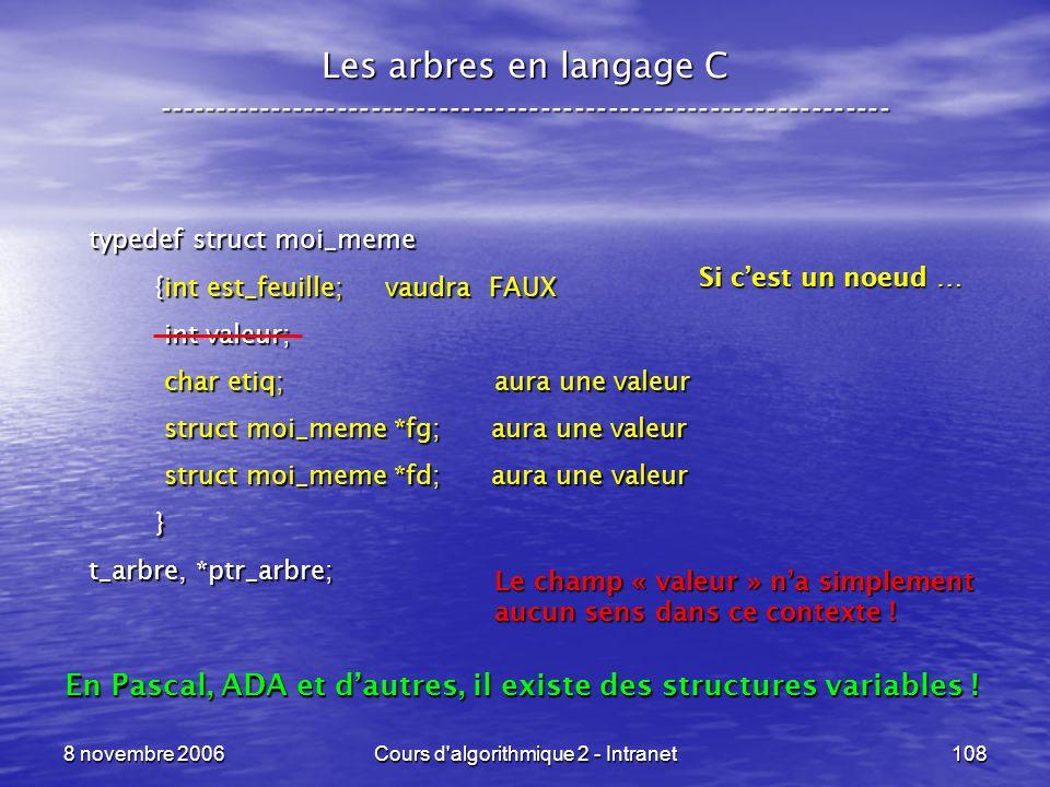 8 novembre 2006Cours d'algorithmique 2 - Intranet108 Les arbres en langage C ----------------------------------------------------------------- typedef