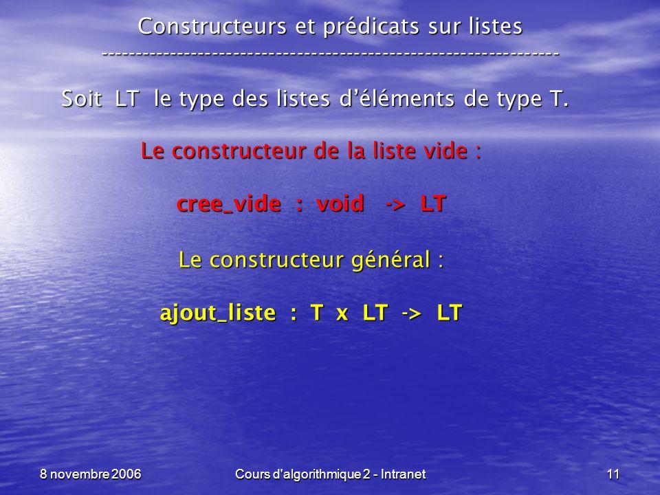 8 novembre 2006Cours d'algorithmique 2 - Intranet11 Constructeurs et prédicats sur listes ------------------------------------------------------------