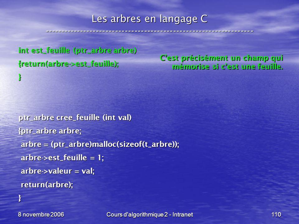 8 novembre 2006Cours d'algorithmique 2 - Intranet110 Les arbres en langage C ----------------------------------------------------------------- int est