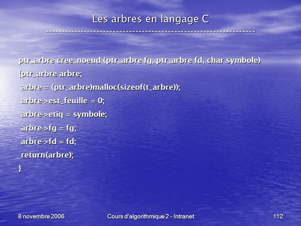 8 novembre 2006Cours d'algorithmique 2 - Intranet112 Les arbres en langage C ----------------------------------------------------------------- ptr_arb
