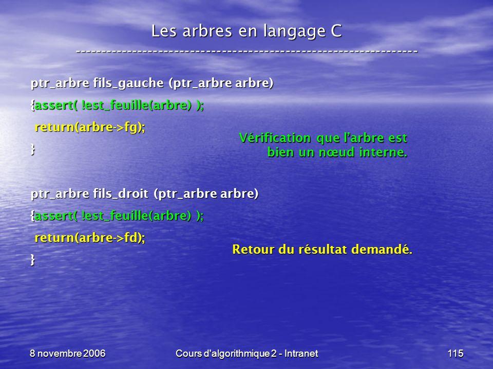 8 novembre 2006Cours d'algorithmique 2 - Intranet115 Les arbres en langage C ----------------------------------------------------------------- ptr_arb