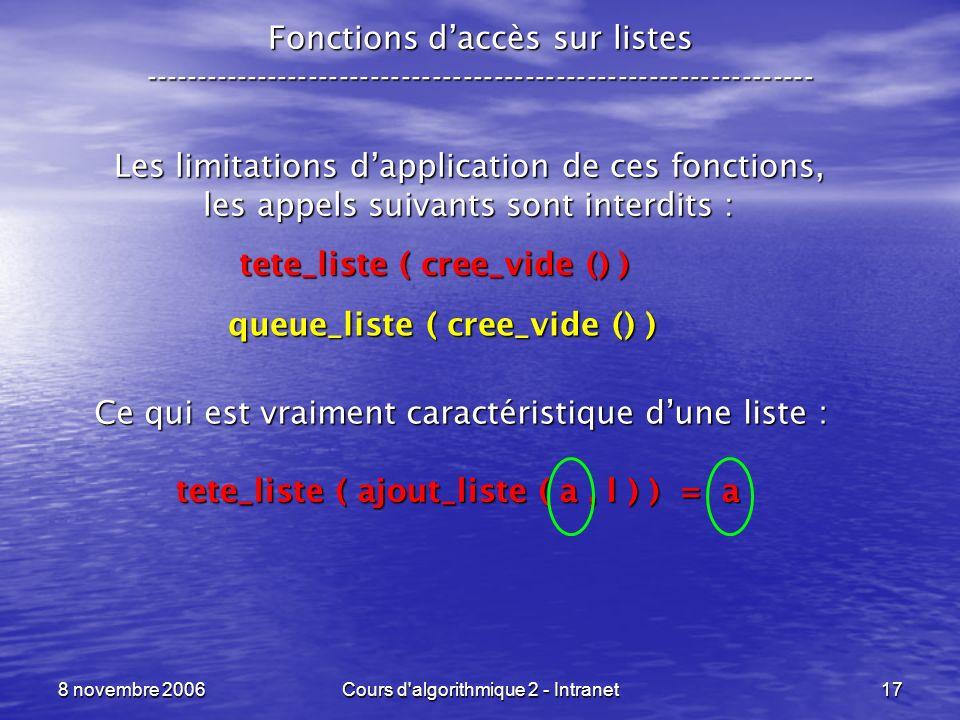 8 novembre 2006Cours d'algorithmique 2 - Intranet17 Fonctions daccès sur listes ----------------------------------------------------------------- Les