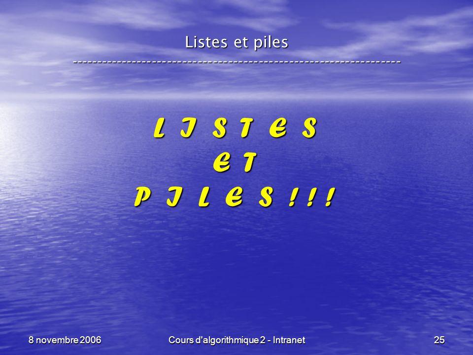 8 novembre 2006Cours d'algorithmique 2 - Intranet25 L I S T E S E T P I L E S ! ! ! Listes et piles --------------------------------------------------
