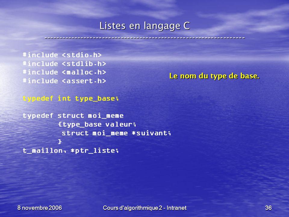 8 novembre 2006Cours d'algorithmique 2 - Intranet36 Listes en langage C ----------------------------------------------------------------- #include typ