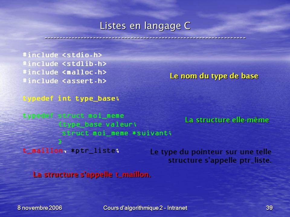 8 novembre 2006Cours d'algorithmique 2 - Intranet39 Listes en langage C ----------------------------------------------------------------- #include typ
