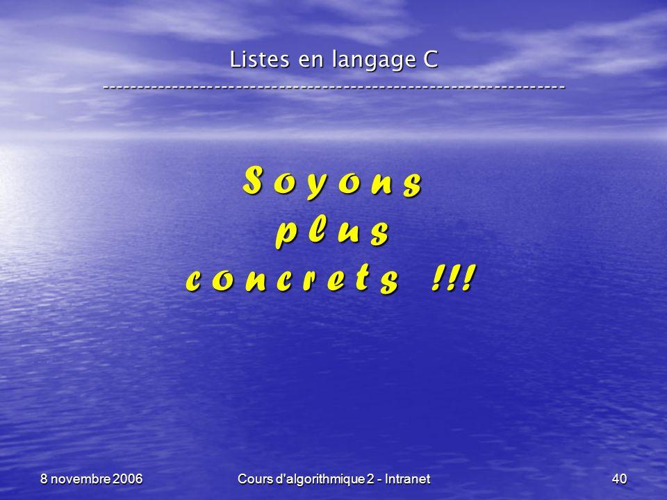 8 novembre 2006Cours d'algorithmique 2 - Intranet40 Listes en langage C ----------------------------------------------------------------- S o y o n s