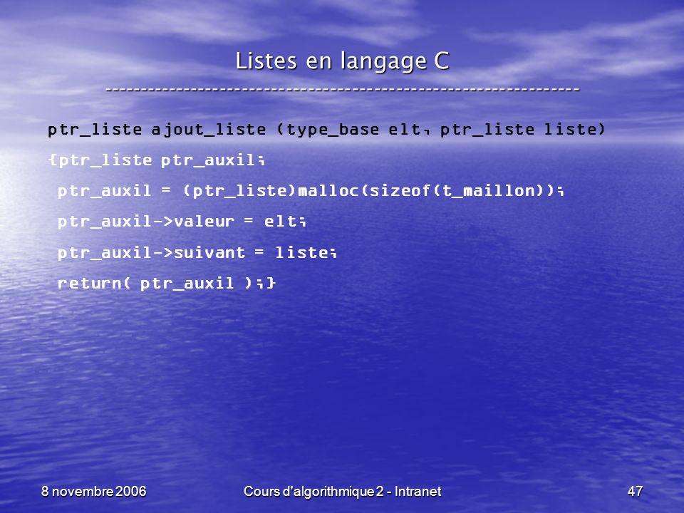 8 novembre 2006Cours d'algorithmique 2 - Intranet47 Listes en langage C ----------------------------------------------------------------- ptr_liste aj