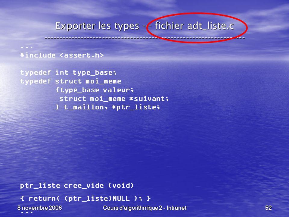 8 novembre 2006Cours d'algorithmique 2 - Intranet52 Exporter les types --- fichier adt_liste.c -------------------------------------------------------