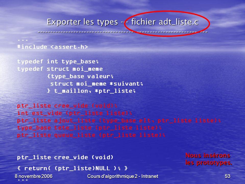 8 novembre 2006Cours d'algorithmique 2 - Intranet53 Exporter les types --- fichier adt_liste.c -------------------------------------------------------