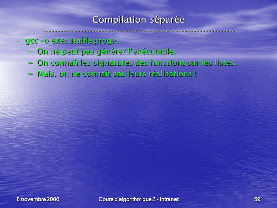 8 novembre 2006Cours d'algorithmique 2 - Intranet59 Compilation séparée ----------------------------------------------------------------- gcc –o execu